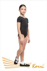 """Г 83-301 Купальник гимнастический """"Мастер-класс"""" рукав-футболка (хлопок) Цвет черный, белый"""