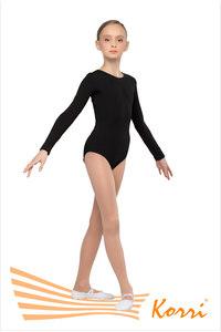 """Г 93-301 Купальник гимнастический """"Силуэт"""" длинный рукав (хлопок) Цвет черный, белый"""
