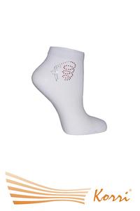 СН15 Спортивные носки со СТРАЗАМИ - гимнастка,  средний паголенок. Усиленные пятка и носок (упаковка 6 шт)