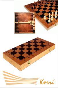 """27978 Игра """"3 в 1"""" (нарды, шахматы, шашки). Размер доски 29*29 см."""